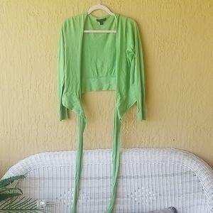 Express line green wrap around sweater Sz S